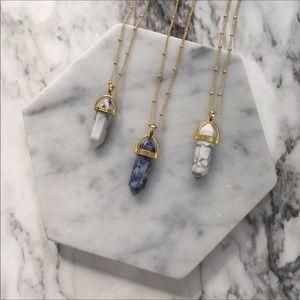 Marble Hexagonal Pendant 14K Gold GP Long necklace